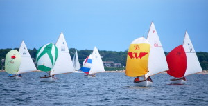 Allie Rose (586), Due Diligence (366), Penguin (312), Phoenix (183) and Sea Breeze (291) head towards their next mark during the Quissett Yacht Club July 4th trophy race held Saturday.